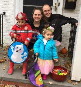 Lauren celebrating Halloween with her family